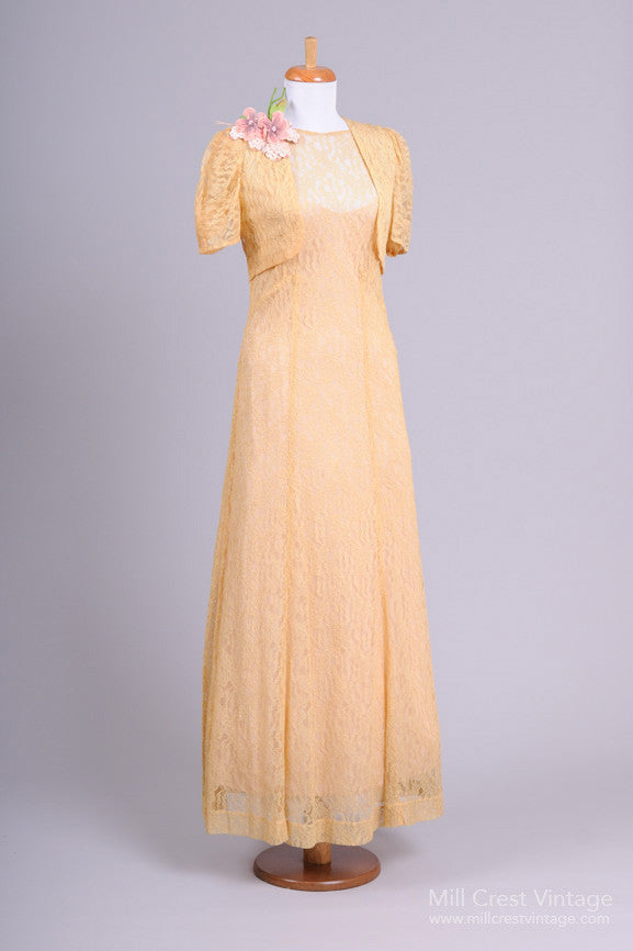 1940s Blush Gold Lace Vintage Wedding Ensemble