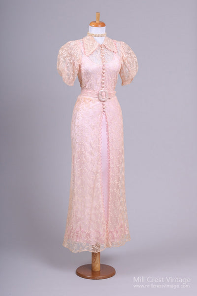 1940 Peach Silk Lace Vintage Wedding Gown - Mill Crest Vintage