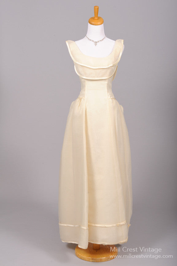 1970 Bustled Organza Vintage Wedding Gown - Mill Crest Vintage