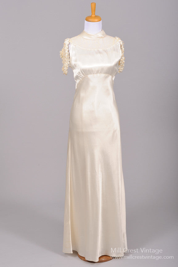 1930 Silk Satin Cascade Vintage Wedding Gown