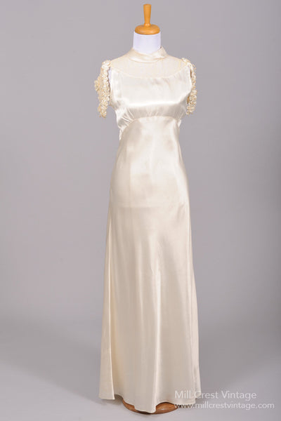 1930 Silk Satin Cascade Vintage Wedding Gown - Mill Crest Vintage