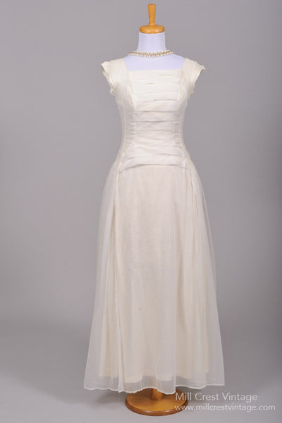 1950 Pleated Vintage Wedding Gown - Mill Crest Vintage