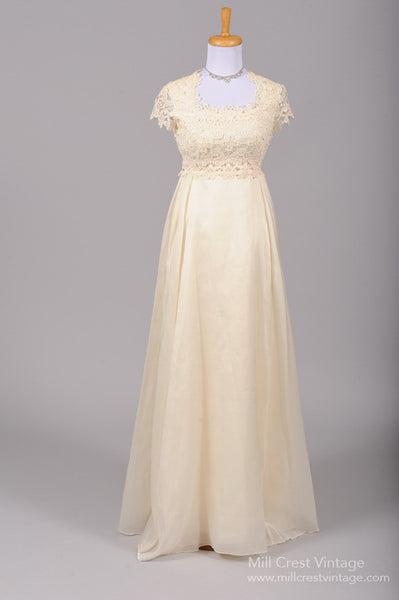1960 Crocheted Vanilla Lace Vintage Wedding Gown - Mill Crest Vintage