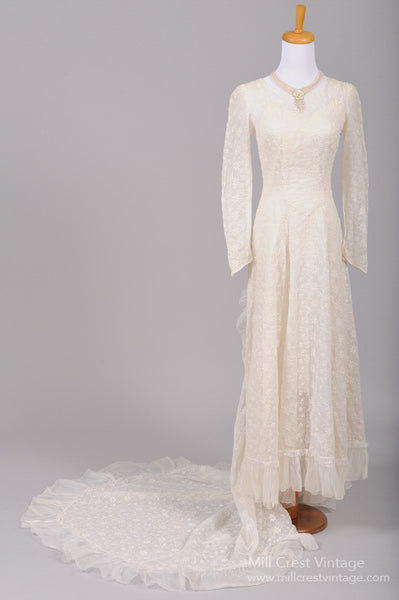 1940 Embroidered Voile Vintage Wedding Gown - Mill Crest Vintage
