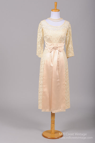 1960 Lace Cream Wiggle Vintage Wedding Dress - Mill Crest Vintage