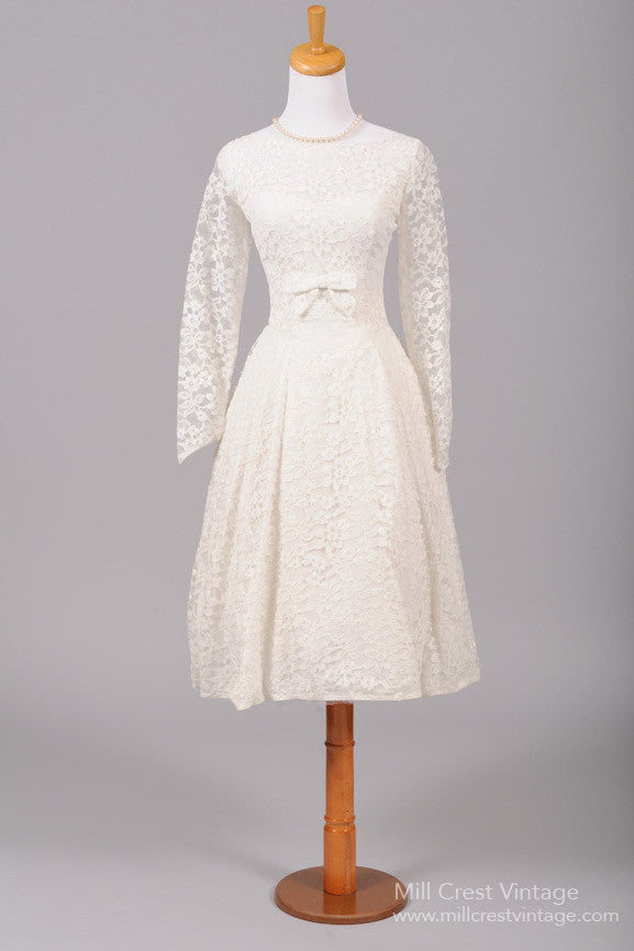 1950 White Tea Length Vintage Wedding Dress - Mill Crest Vintage