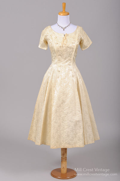 1950 Champagne Jacquard Vintage Wedding Dress - Mill Crest Vintage
