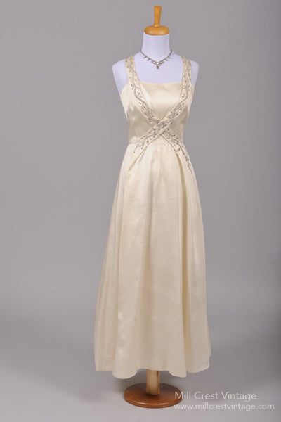 1960 Beaded Silk Vintage Wedding Gown-Mill Crest Vintage