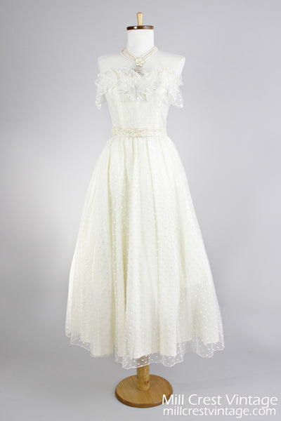 1970 Dotted Swiss Net Vintage Wedding Dress-Mill Crest Vintage