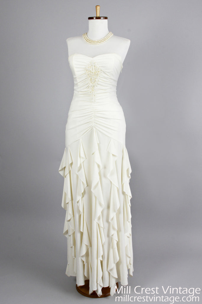 1980\'s Strapless Knit Vintage Wedding Gown