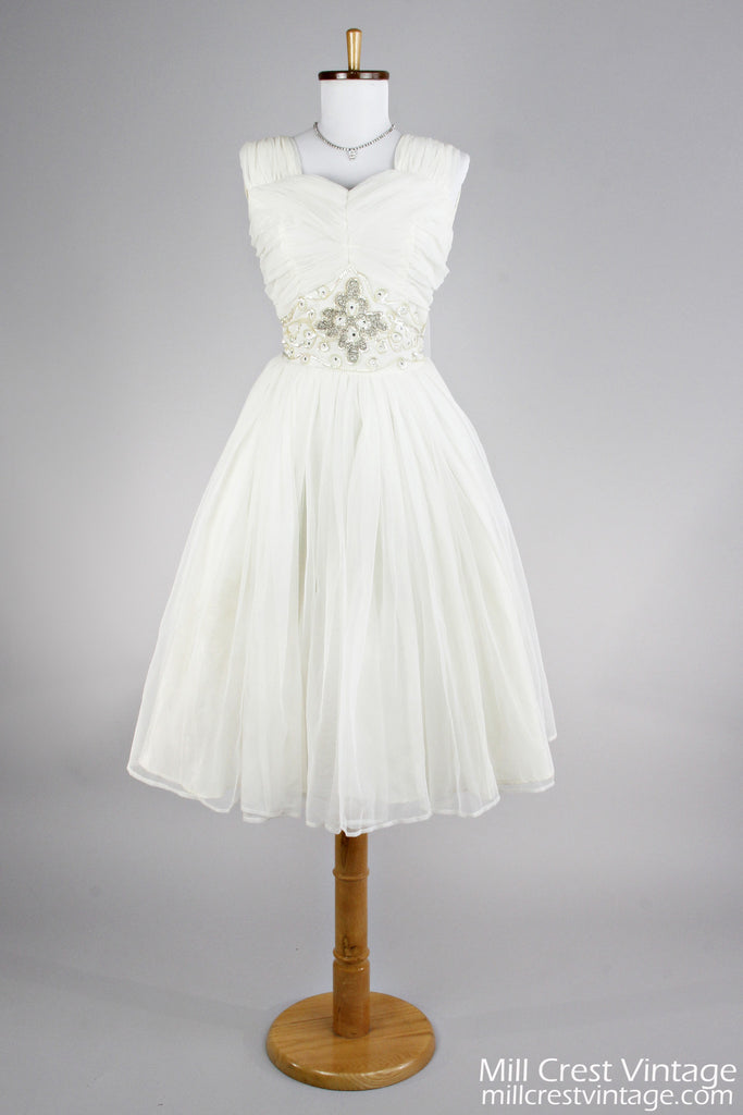 1950 Ruched Chiffon Vintage Wedding Dress - Mill Crest Vintage