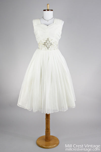 1950 Ruched Chiffon Vintage Wedding Dress-Mill Crest Vintage