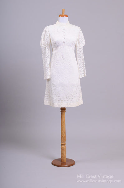 1960 Mod floral Lace Vintage Wedding Dress - Mill Crest Vintage