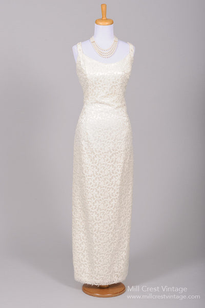 1970 Metallic Embroidered Vintage Wedding Gown-Mill Crest Vintage