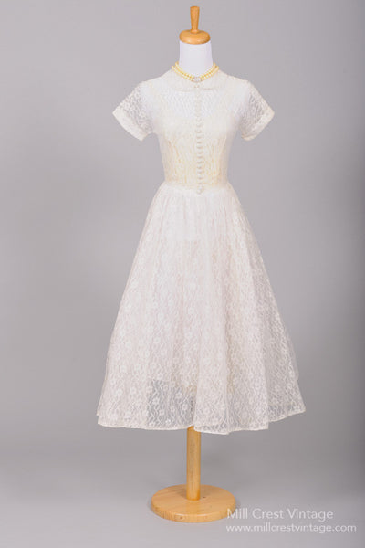 1950 Sheer Tea Length Wedding Dress-Mill Crest Vintage