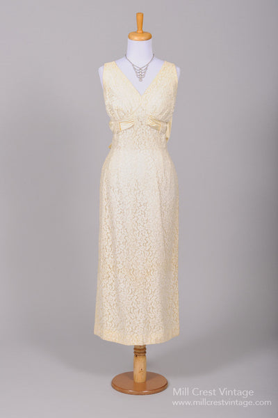 1960 Vanilla Midi Vintage Wedding Dress-Mill Crest Vintage