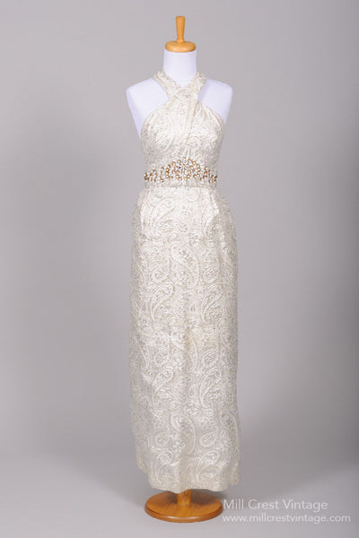 1960 Metallic Paisley Vintage Wedding Gown - Mill Crest Vintage
