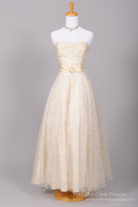 1940 Dotted Sequin Vintage Wedding Gown