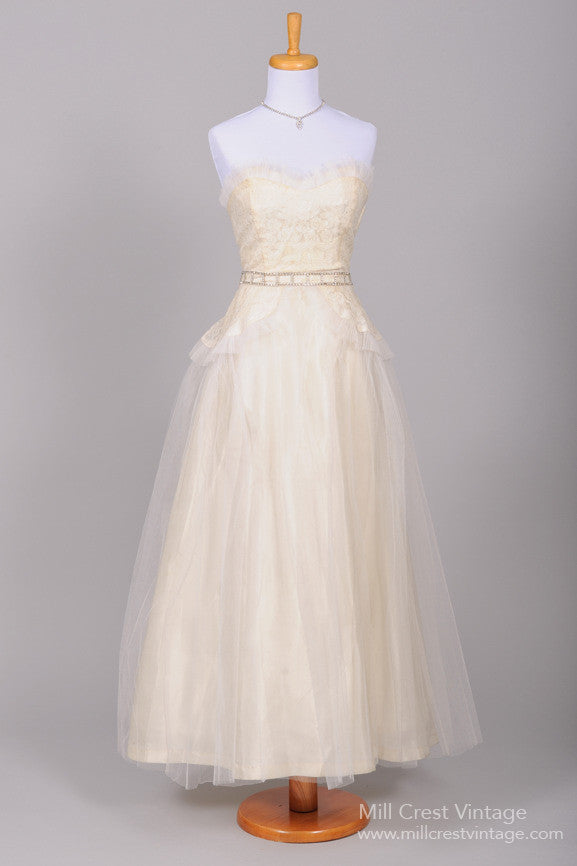 1940 Peplum Vintage Wedding Gown - Mill Crest Vintage