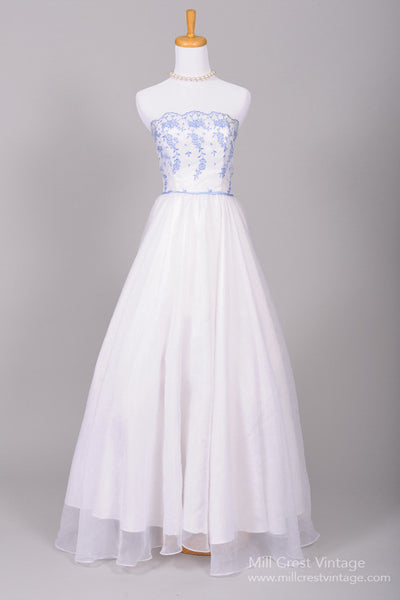 1960 Wedgewood Blue Vintage Wedding Gown - Mill Crest Vintage