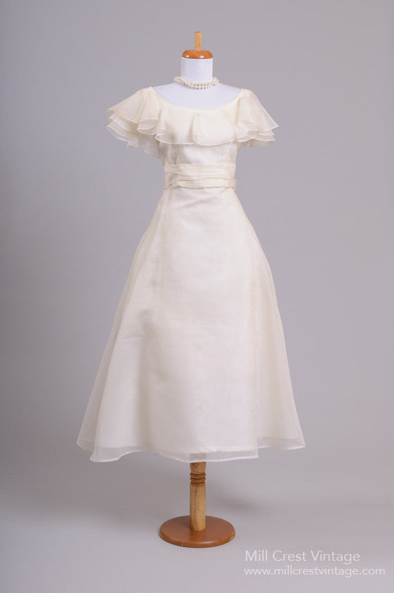 1960 Cream Silk Chiffon Vintage Wedding Dress - Mill Crest Vintage