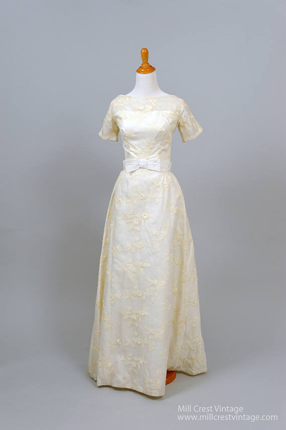 1950 Sheer Embroidered Vintage Wedding Gown