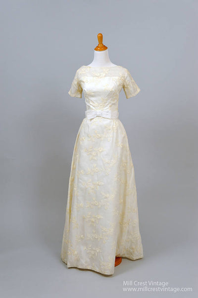 1950 Sheer Embroidered Vintage Wedding Gown - Mill Crest Vintage