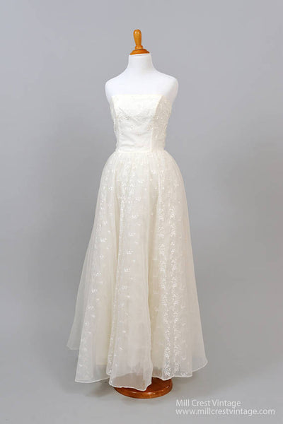 1960 Strapless Flocked Vintage Wedding Gown-Mill Crest Vintage