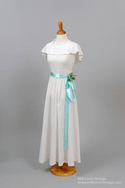 1970 Cotton Eyelet Vintage Wedding Gown-Mill Crest Vintage