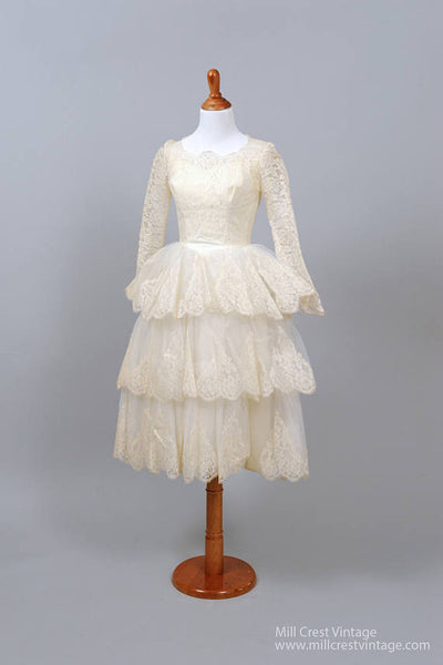 1950 Tiered Scalloped Vintage Wedding Dress-Mill Crest Vintage