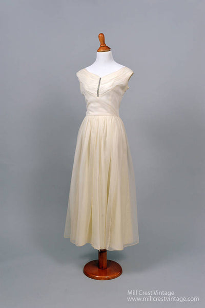 1960 Pleated Chiffon Vintage Wedding Dress-Mill Crest Vintage