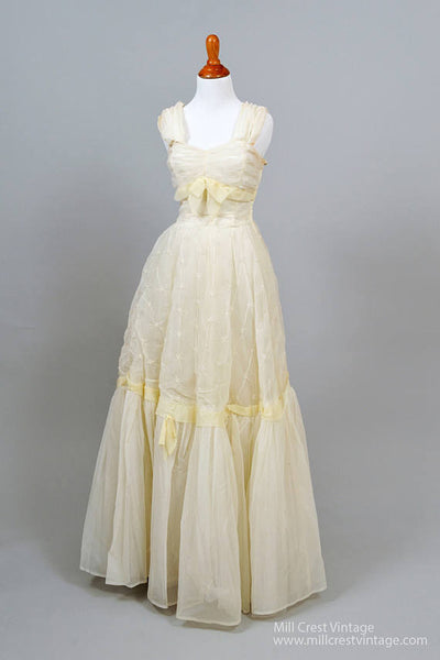 1950 Ruched Princess Vintage Wedding Gown-Mill Crest Vintage