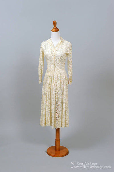 1950 Lace Shirtmaker Vintage Wedding Dress-Mill Crest Vintage