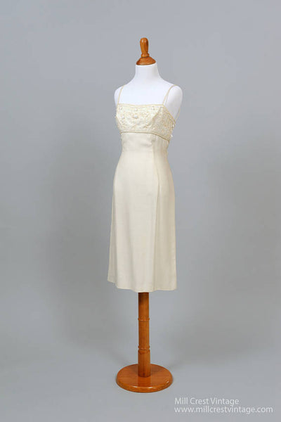 1950 Beaded Linen Vintage Wedding Dress-Mill Crest Vintage