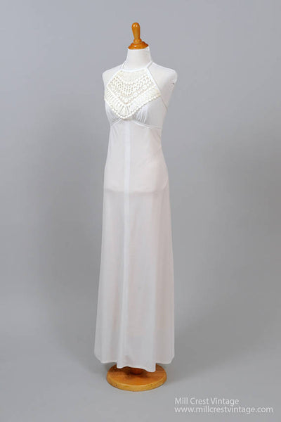 1970 Halter Bib Vintage Wedding Gown-Mill Crest Vintage
