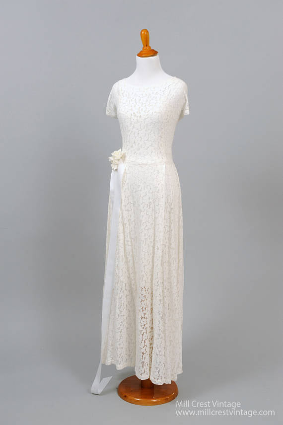 1950 White Cotton Lace Vintage Wedding Gown-Mill Crest Vintage