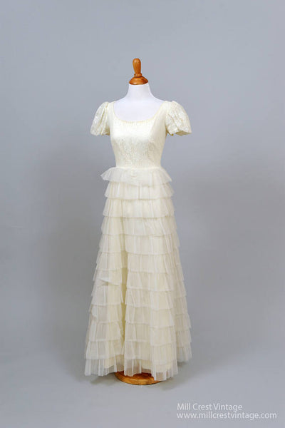 1960 Ruffled Chiffon Vintage Wedding Gown-Mill Crest Vintage