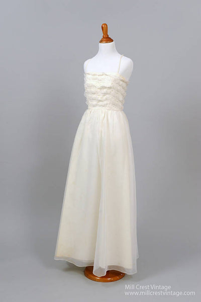 1960 Ruffled Lace Vintage Wedding Gown-Mill Crest Vintage