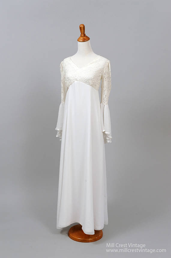1970 Bell Sleeve Vintage Wedding Gown