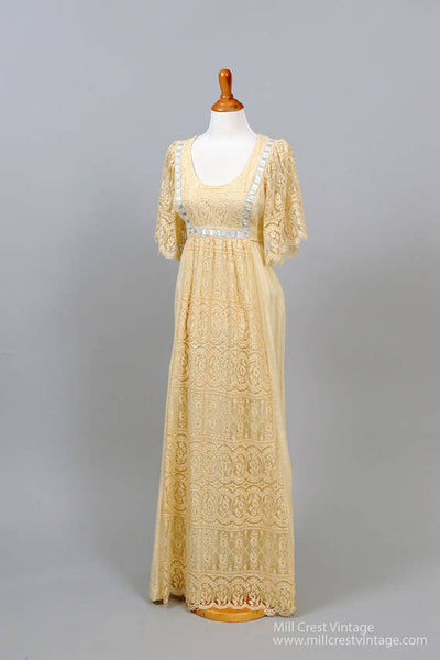 1970 Lace Flutter Vintage Wedding Dress-Mill Crest Vintage