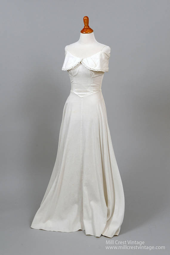1950 White Pique Vintage Wedding Gown