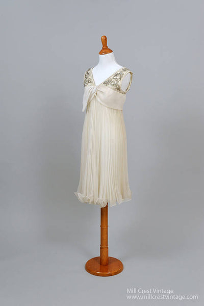1960 Beaded Trapeze Vintage Wedding Dress - Mill Crest Vintage