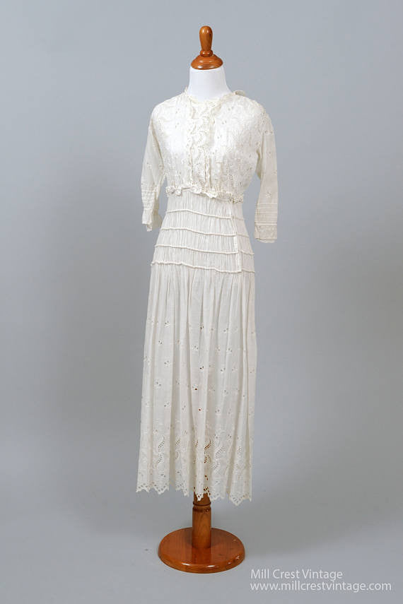 Edwardian Peasant Vintage Wedding Dress-Mill Crest Vintage