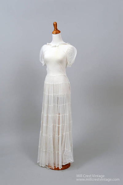 1940 Dotted Swiss Vintage Wedding Gown-Mill Crest Vintage