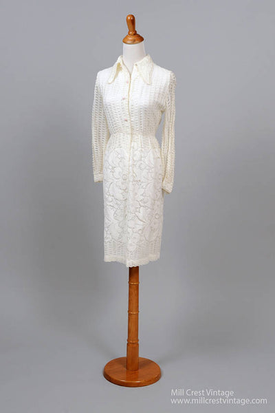 1970 Crochet Shirtmaker Vintage Wedding Dress-Mill Crest Vintage