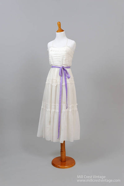 1970 Pin Tuck Cotton Vintage Wedding Dress-Mill Crest Vintage