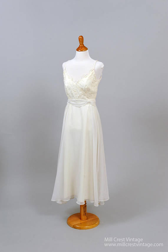 1970 Lace and Pearl Vintage Wedding Dress - Mill Crest Vintage