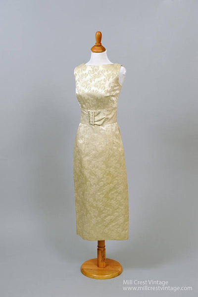 1960 Floral Jacquard Vintage Wedding Dress-Mill Crest Vintage