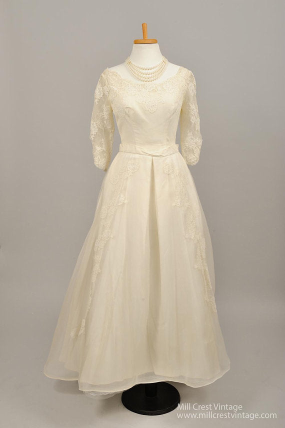 1950 Scooped Neck Vintage Wedding Gown - Mill Crest Vintage