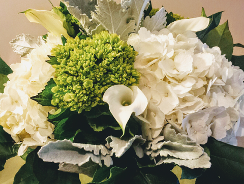 Hydrangea bouquet - Premium White and mini green